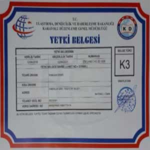 İzmir evden eve nakliyat firmaları yetki belgesi için kullanılan görselde K3 taşımacılık belgesi var.