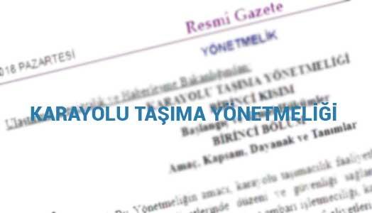 2018 Karayolu Taşıma Yönetmeliği Yeni.